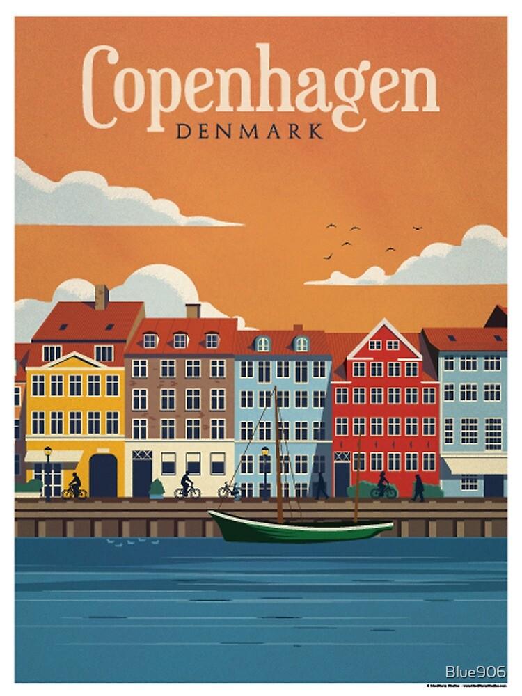 Block of 10 vintage color postcards of the city of Copenhagen-Denmark