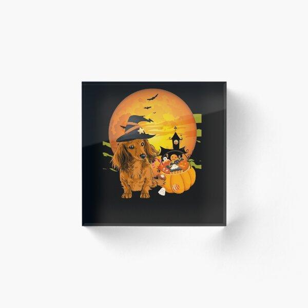 cute dachshund Dog Halloween 2020 witch hat and Pumpkin Acrylic Block