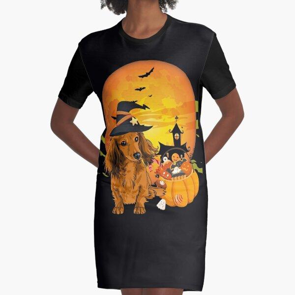 cute dachshund Dog Halloween 2020 witch hat and Pumpkin Graphic T-Shirt Dress