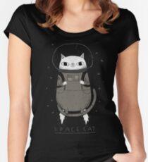 Camiseta entallada de cuello ancho gato espacial
