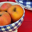 Apples in blue and white bowl by 7horses