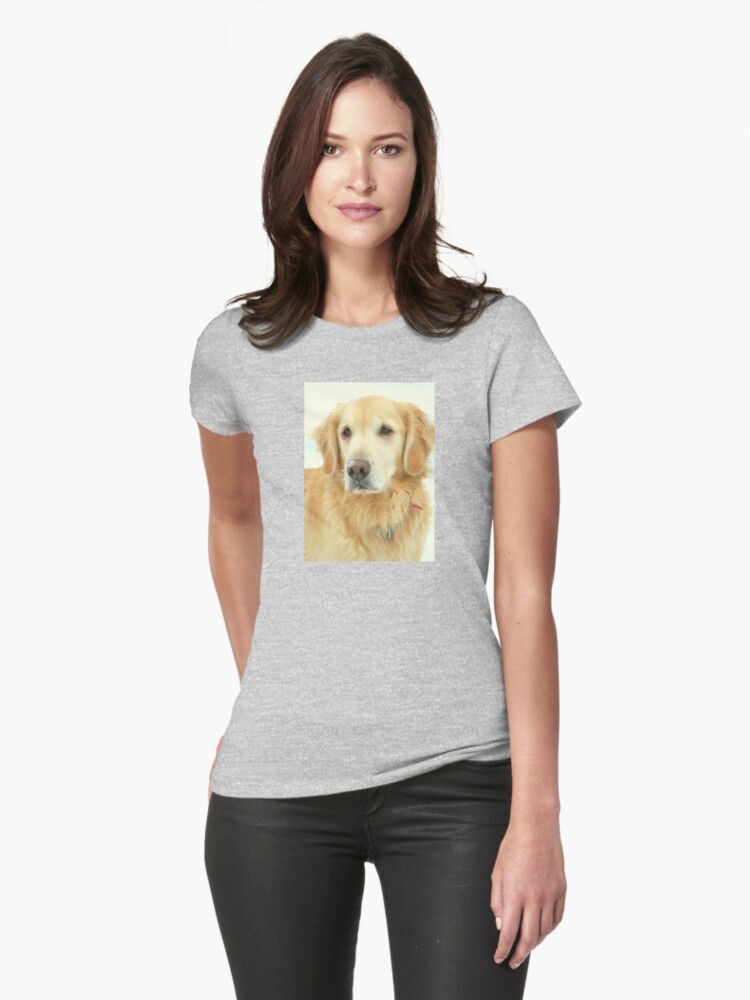 Golden Retriever on a Snowy Day Womens T-Shirt Front
