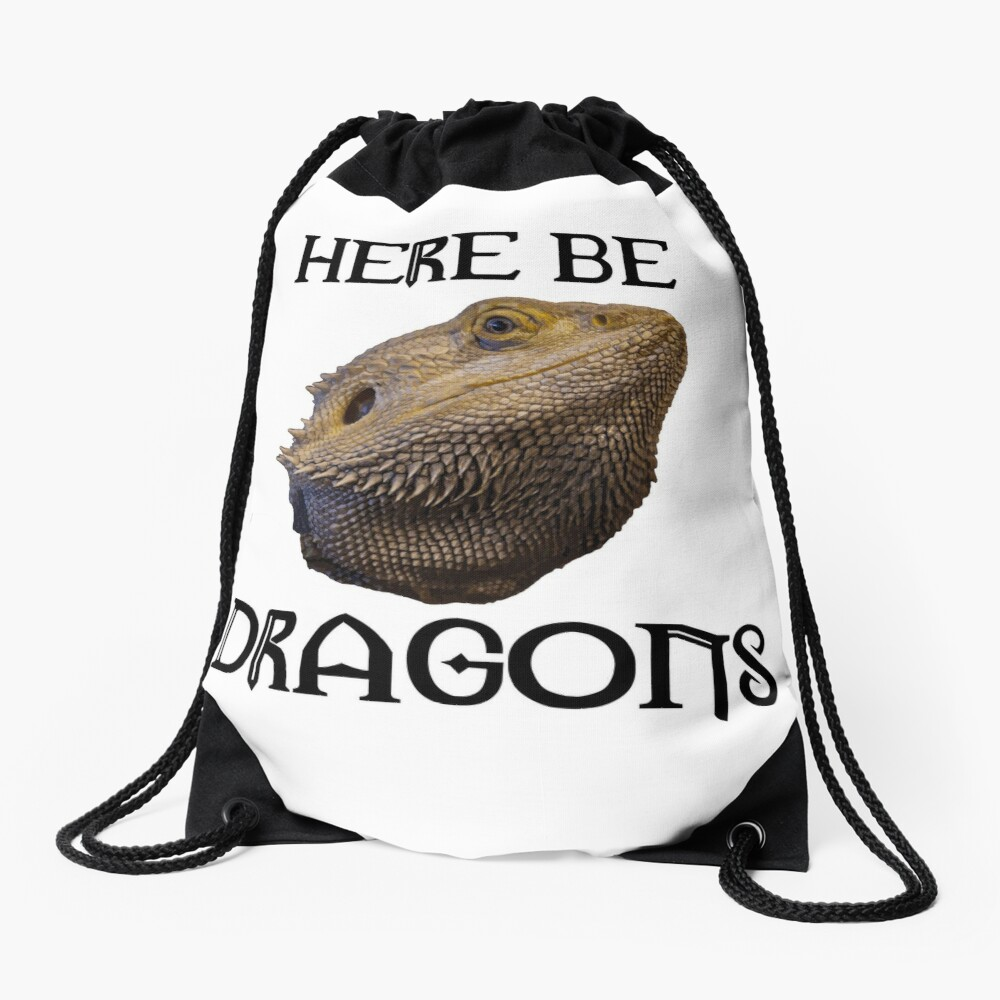 Here Be Dragons Drawstring Bag