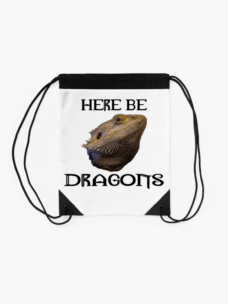 Alternate view of Here Be Dragons Drawstring Bag