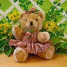 Teddy Girl with Spring Flowers by Vivian Eagleson