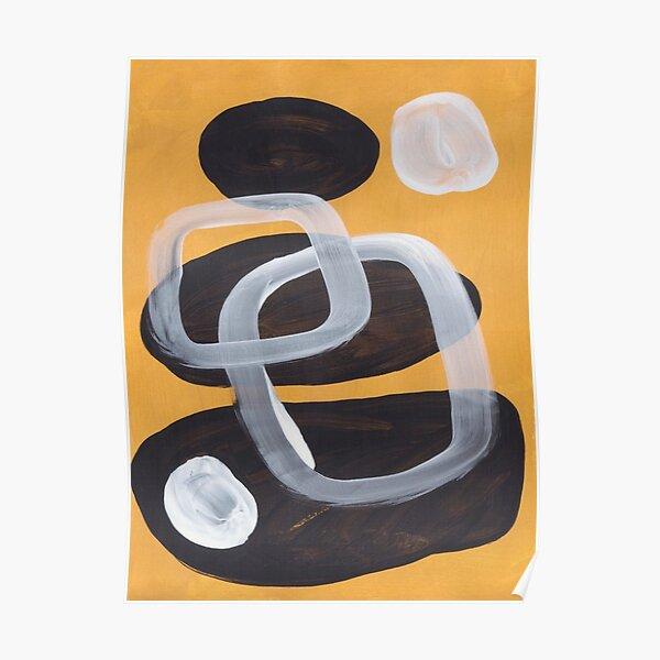Mustard Pebbles Mid century Modern Minimalist Minimalist Retro Vintage Art Mustard yellow Abstract Shapes Pattern Poster