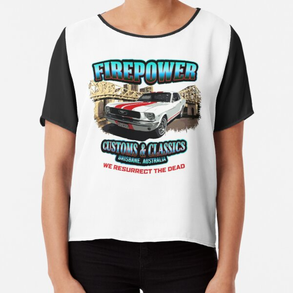 FIREPOWER CUSTOMS AND CLASSICS MUSTANG BRISBANE SOUVENIR Chiffon Top