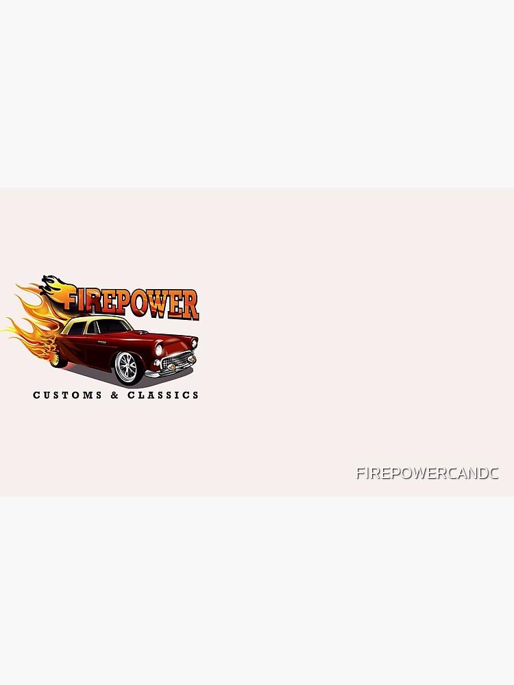 FIREPOWER CUSTOMS AND CLASSICS Flaming Custom T-Bird Official Brand Design by FIREPOWERCANDC