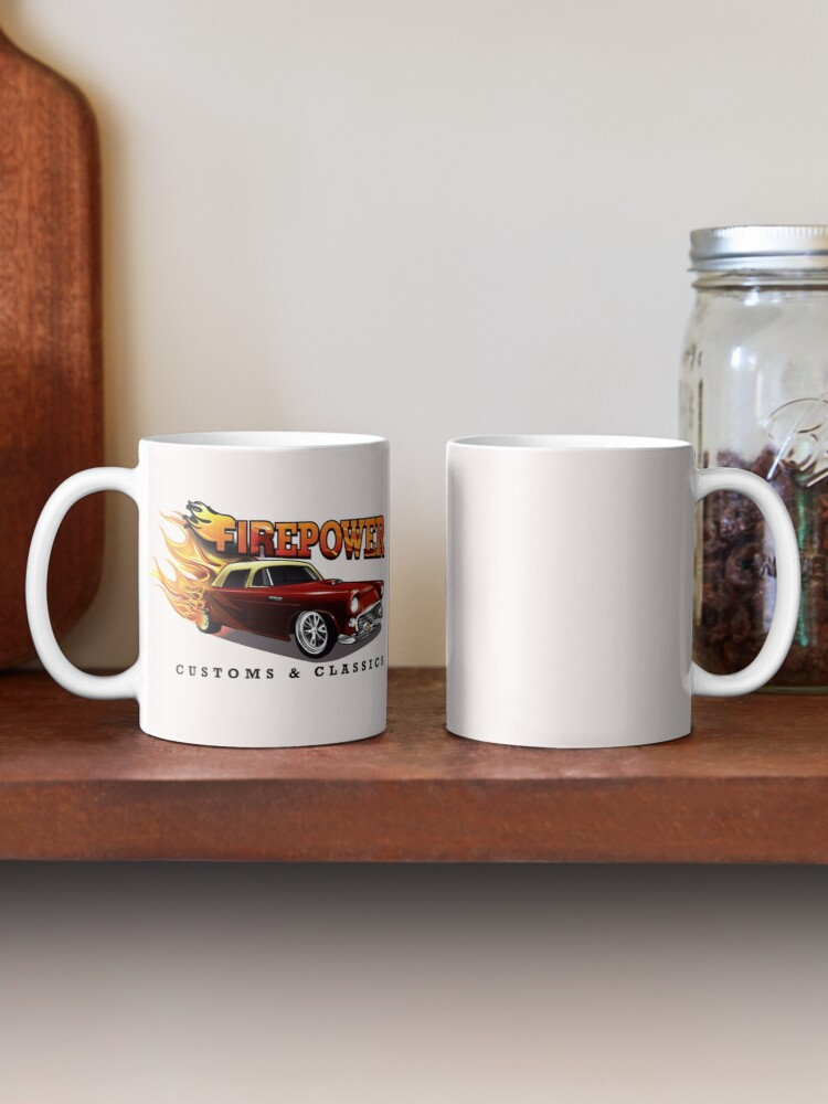 Alternate view of FIREPOWER CUSTOMS AND CLASSICS Flaming Custom T-Bird Official Brand Design Mug