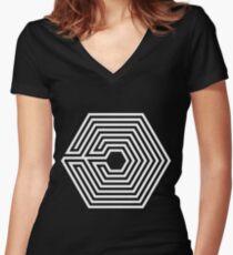EXO - Overdose (White) Women's Fitted V-Neck T-Shirt