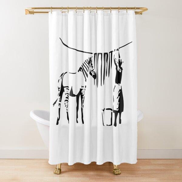 Banksy, A Woman Washing Zebra Stripes Artwork Reproduction, Posters, Tshirts, Prints Shower Curtain