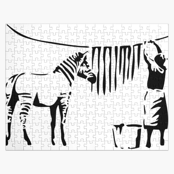Banksy, A Woman Washing Zebra Stripes Reproduction d'œuvres d'art, Affiches, T-shirts, Impressions Puzzle