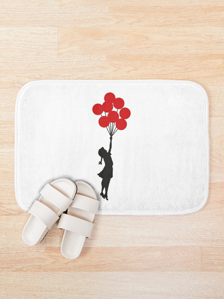 Alternate view of Banksy Girl With Red Balloons At Israeli-Palestine Wall, Palestinial Artwork, Prints, Posters, Bags, Men, Women, Kids Bath Mat