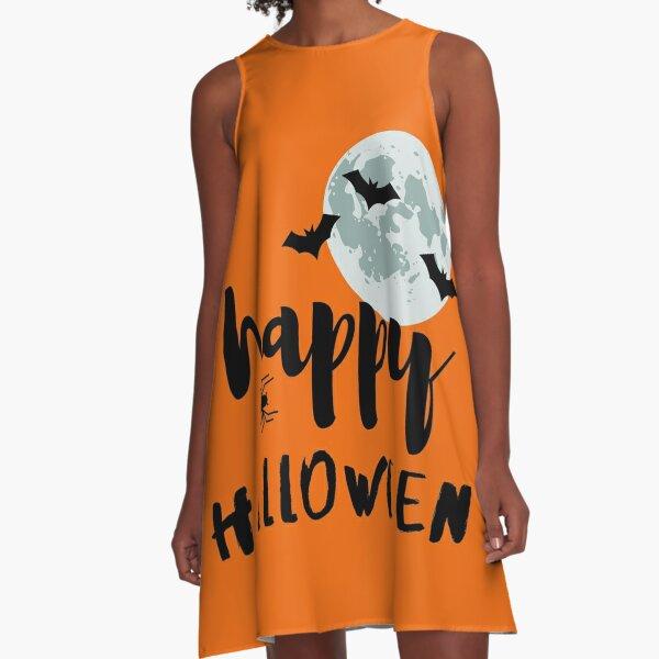 Happy halloween bats & Spider on the moon Gift idea  A-Line Dress