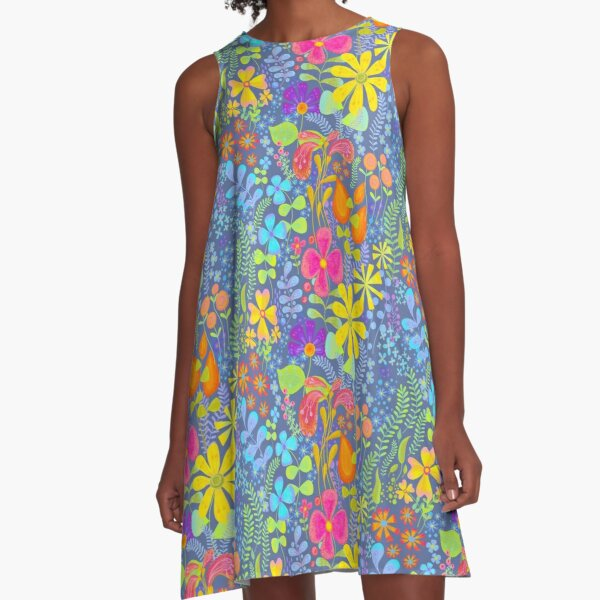Whimsical floral pattern bright colours on blue A-Line Dress