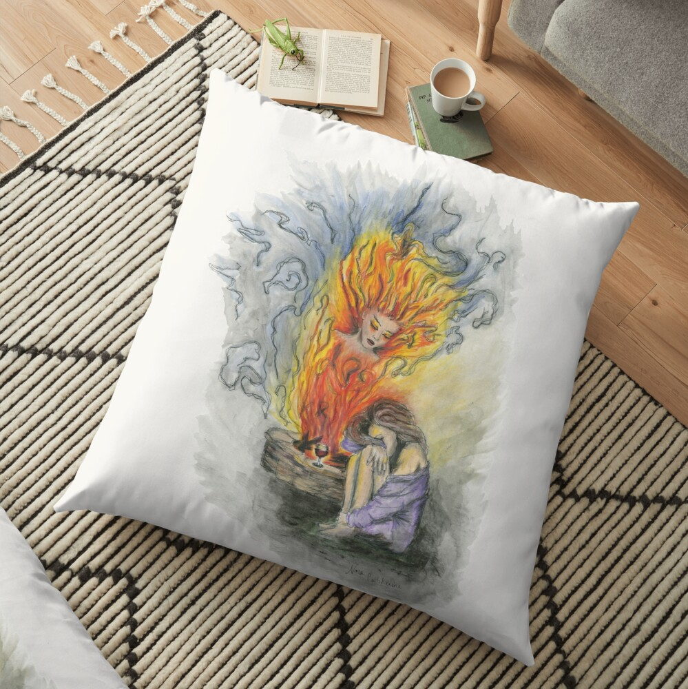 She is Fire Floor Pillow