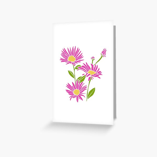 Violet Red and Green Asters Illustration, Floral Design Greeting Card