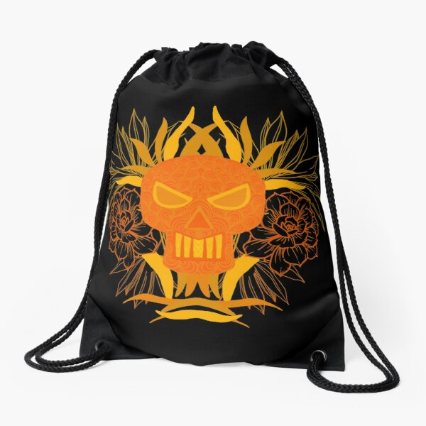 Skull with flowers  Drawstring Bag