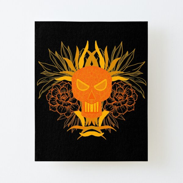 Skull with flowers  Canvas Mounted Print