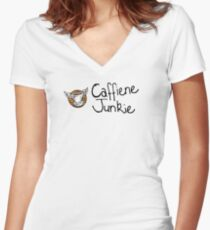 Caffiene junkie -black font Women's Fitted V-Neck T-Shirt