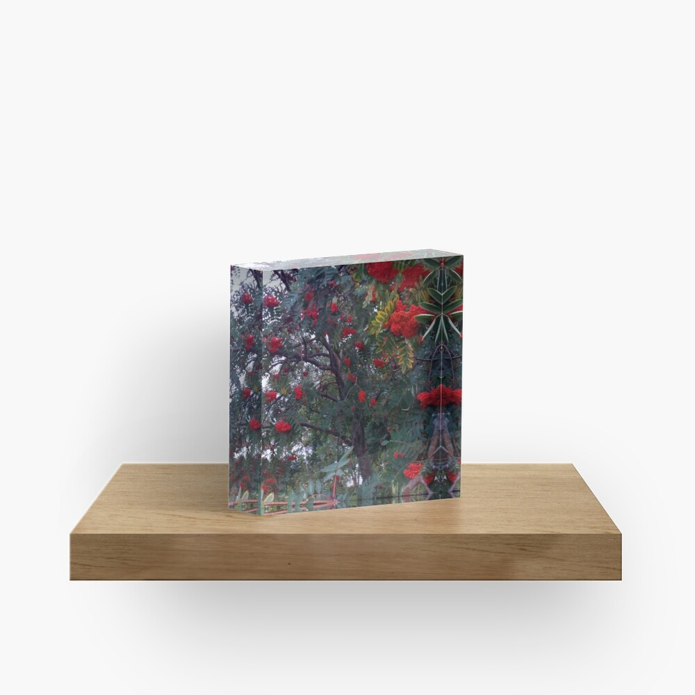 Flora and red fruits Acrylic Block