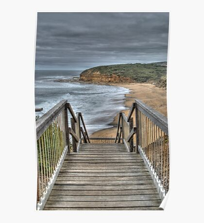 Stairway to Surfing Heaven, Bells Beach, Victoria Poster