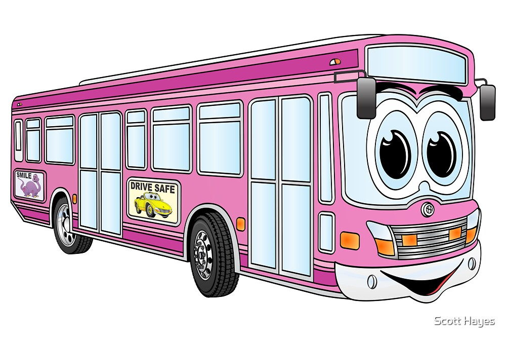 Pink City Bus Cartoon by Graphxpro