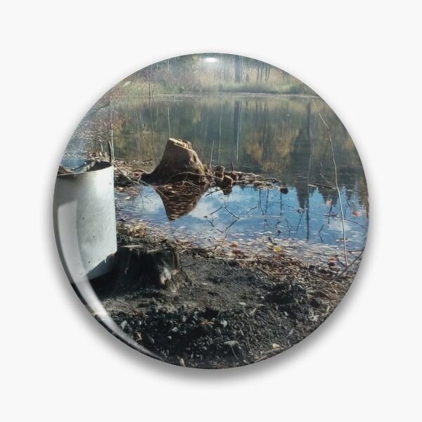 Autumnal drum fire by the lake horizontal Pin