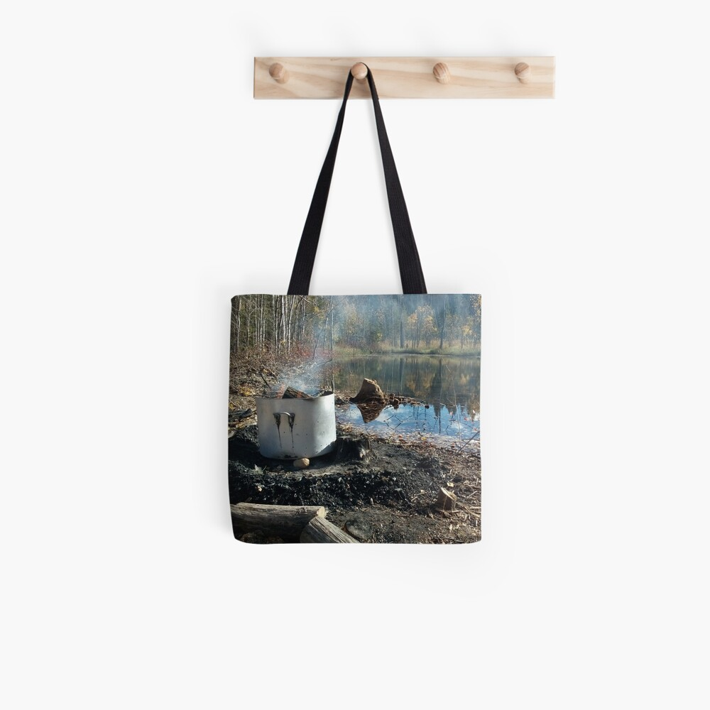 Autumnal drum fire by the lake horizontal Tote Bag