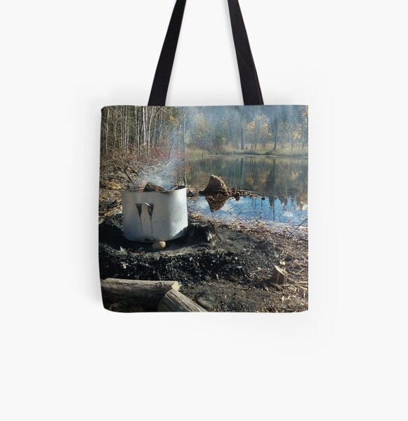 Autumnal drum fire by the lake horizontal All Over Print Tote Bag