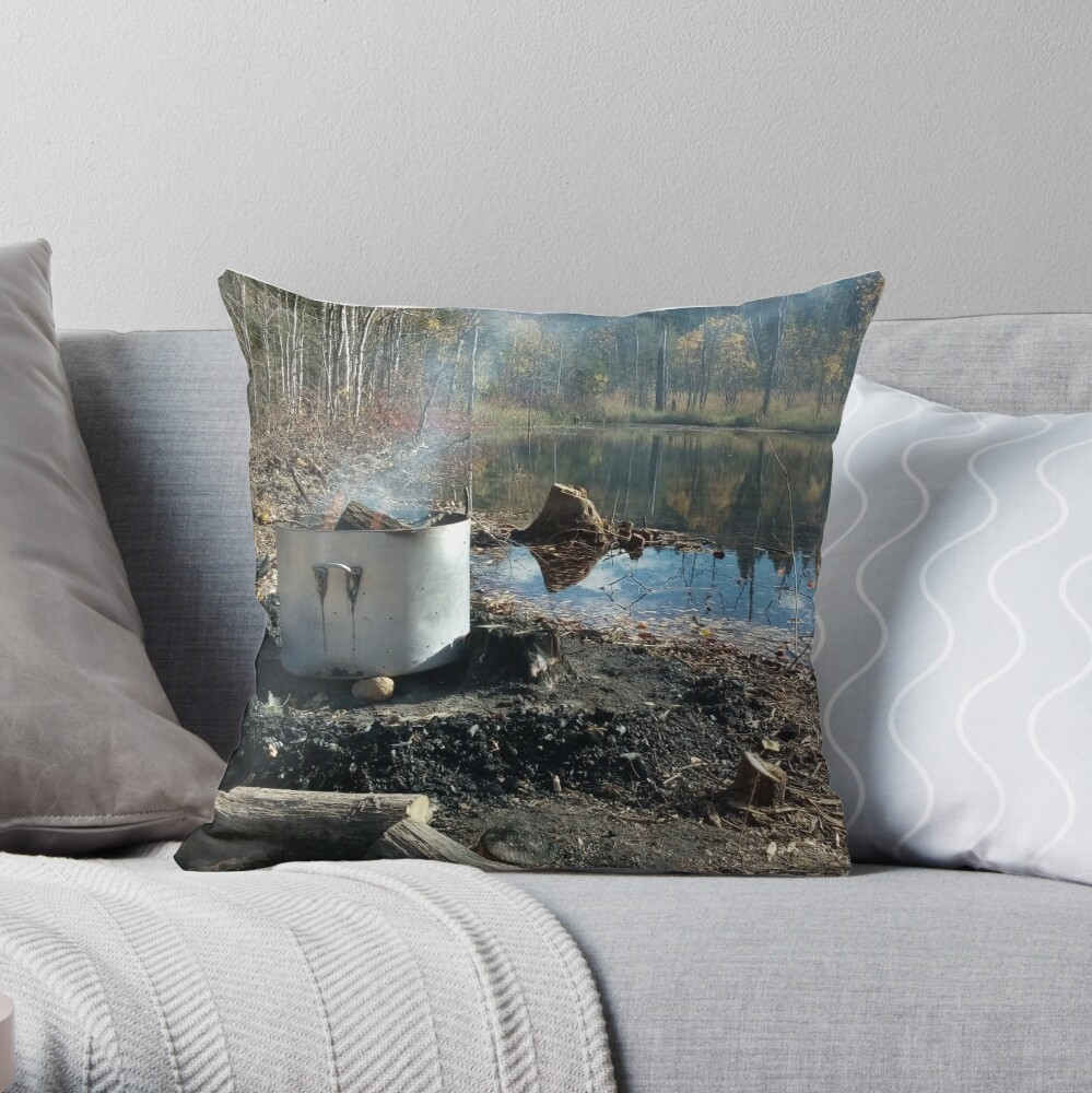 Autumnal drum fire by the lake horizontal Throw Pillow