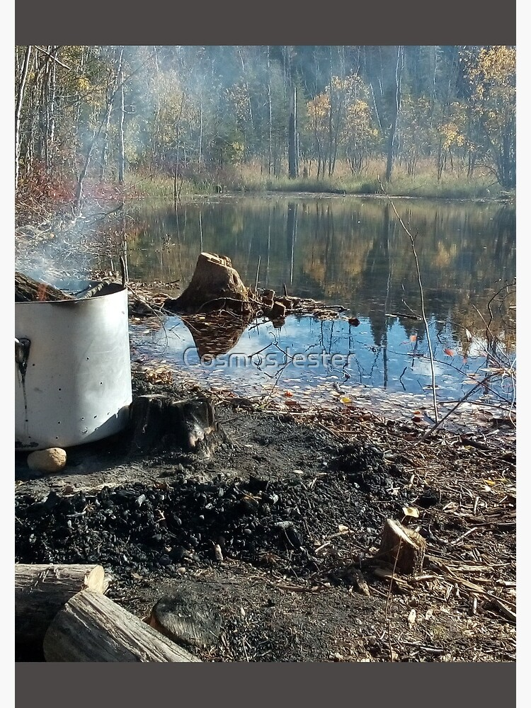 Autumnal drum fire by the lake horizontal by CosmosJester