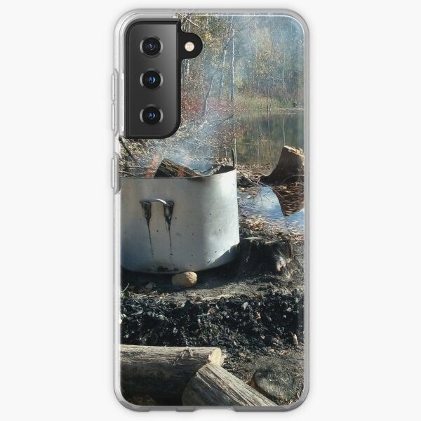 Autumnal drum fire by the lake horizontal Samsung Galaxy Soft Case