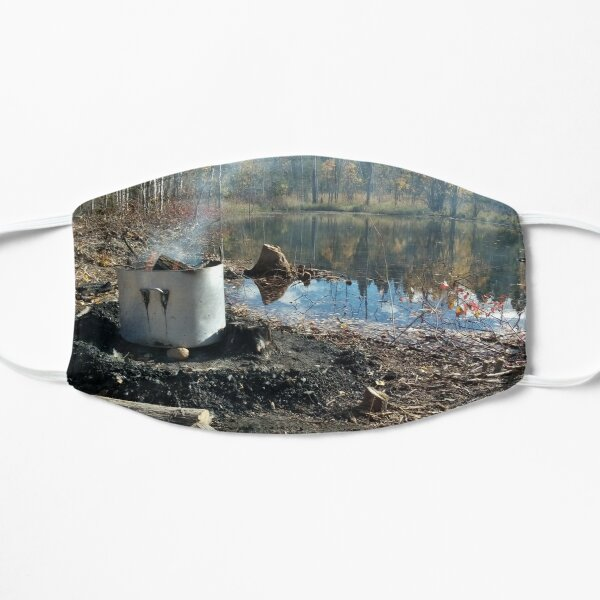 Autumnal drum fire by the lake horizontal Flat Mask