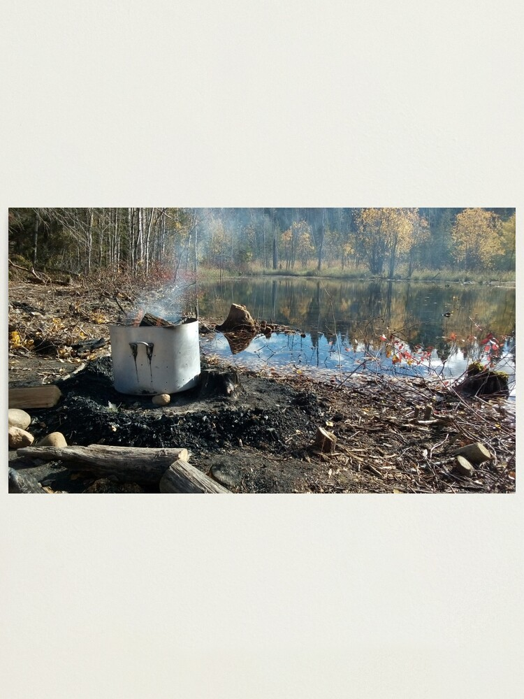 Alternate view of Autumnal drum fire by the lake horizontal Photographic Print