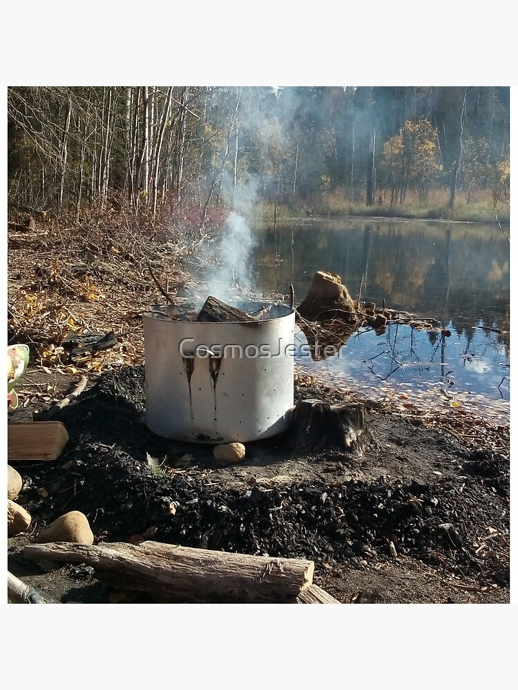 Autumnal drum fire by the lake vertical by CosmosJester