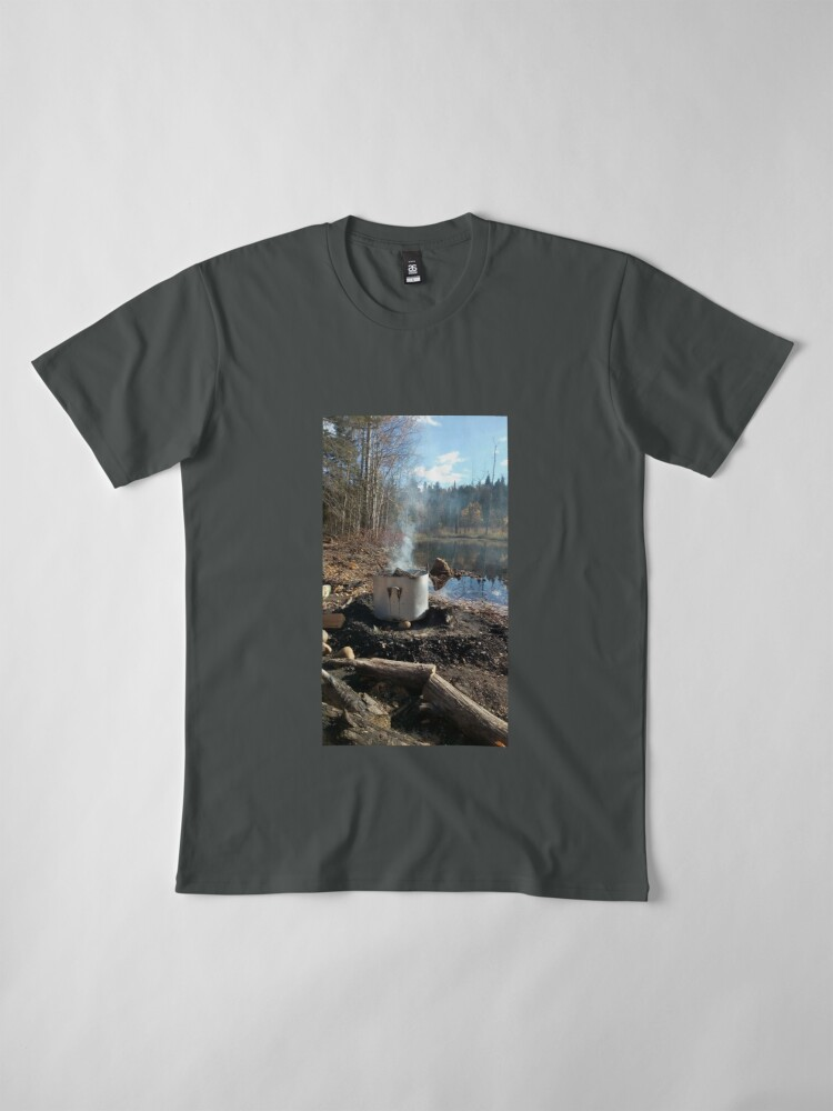 Alternate view of Autumnal drum fire by the lake vertical Premium T-Shirt