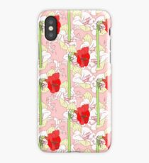Seamless pattern  with red white amaryllises iPhone Case/Skin