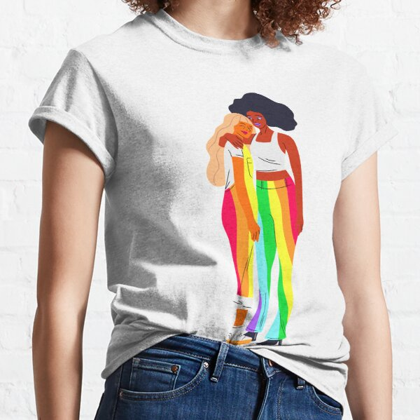 lesbian girls- LGBTQIA+ rainbow ,love wins tshirt,pride prade,LGBTQ queer,transgender,live with pride,Rainbow, Gay Pride T-Shirt, Cute Rainbow, Pride Rainbow Print, Pride Outfit, Gay Tee, Lesbian  Classic T-Shirt