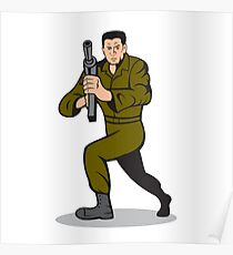 Soldier Aiming Sub-Machine Gun Cartoon Poster