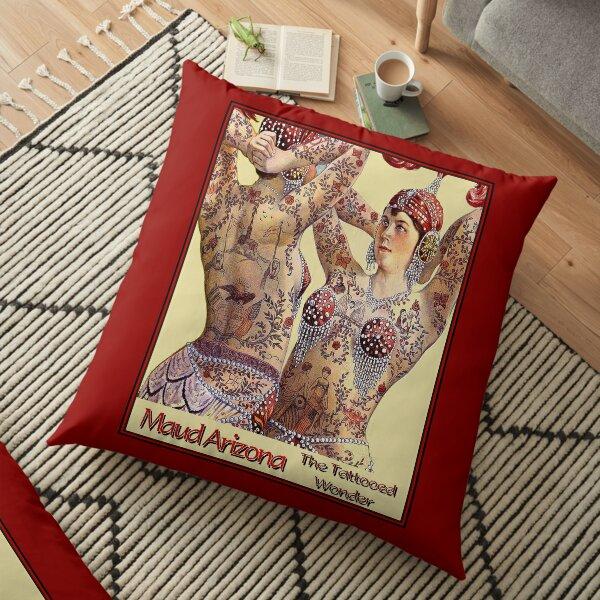 MAUD ARIZONA; Vintage Tattooed Lady Print Floor Pillow