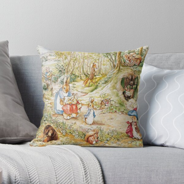 "Beatrix Potter Rabbit Family Illustration ""The Tale of Peter Rabbit"" Throw Pillow"