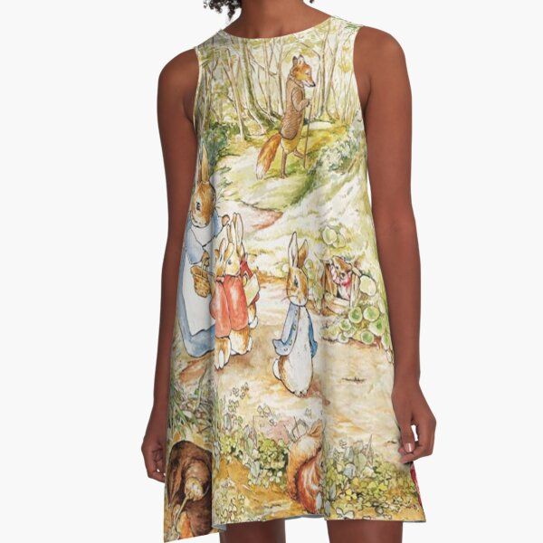 "Beatrix Potter Rabbit Family Illustration ""The Tale of Peter Rabbit"" A-Line Dress"