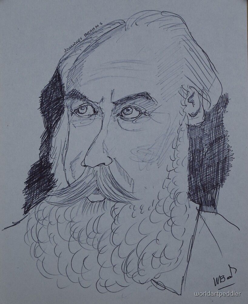Johannes Brahms drawing by worldartpeddler