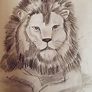 Lion Drawing by worldartpeddler