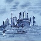 Sloss Furnace Drawing by worldartpeddler