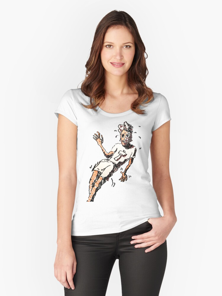 Cartoon Man Waving  Women's Fitted Scoop T-Shirt Front