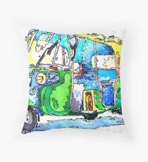 Tuk Tuk Auto Rickshaw Yellow Green Throw Pillow