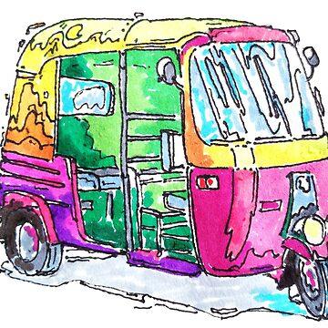 Tuk Tuk Purple Auto Rickshaw by rooosterboy