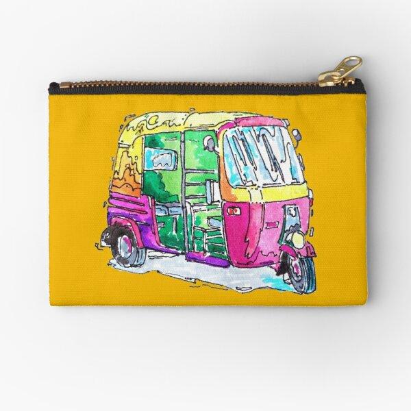 Tuk Tuk Purple Auto Rickshaw Zipper Pouch